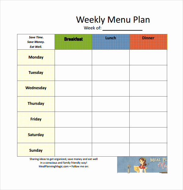 Meal Plan Template Word Inspirational 14 Weekly Meal Plan Templates