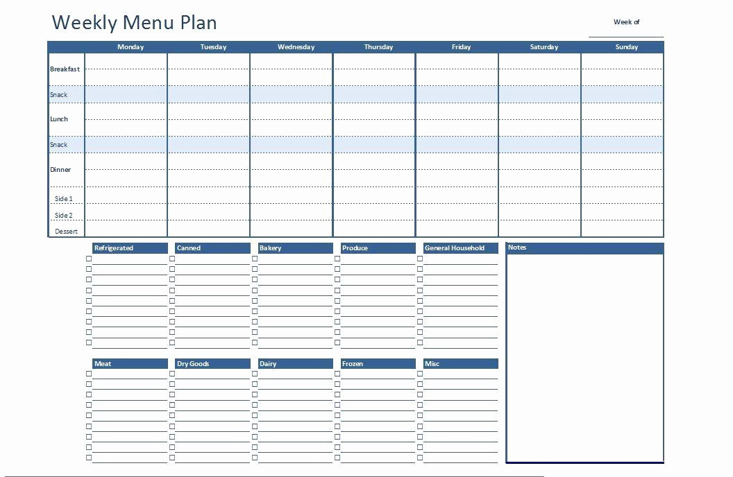 Meal Plan Template Word Inspirational Free Excel Weekly Menu Plan Template Dowload