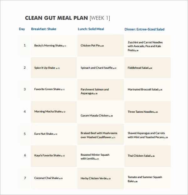 Meal Plan Template Word Unique 18 Meal Planning Templates Pdf Excel Word