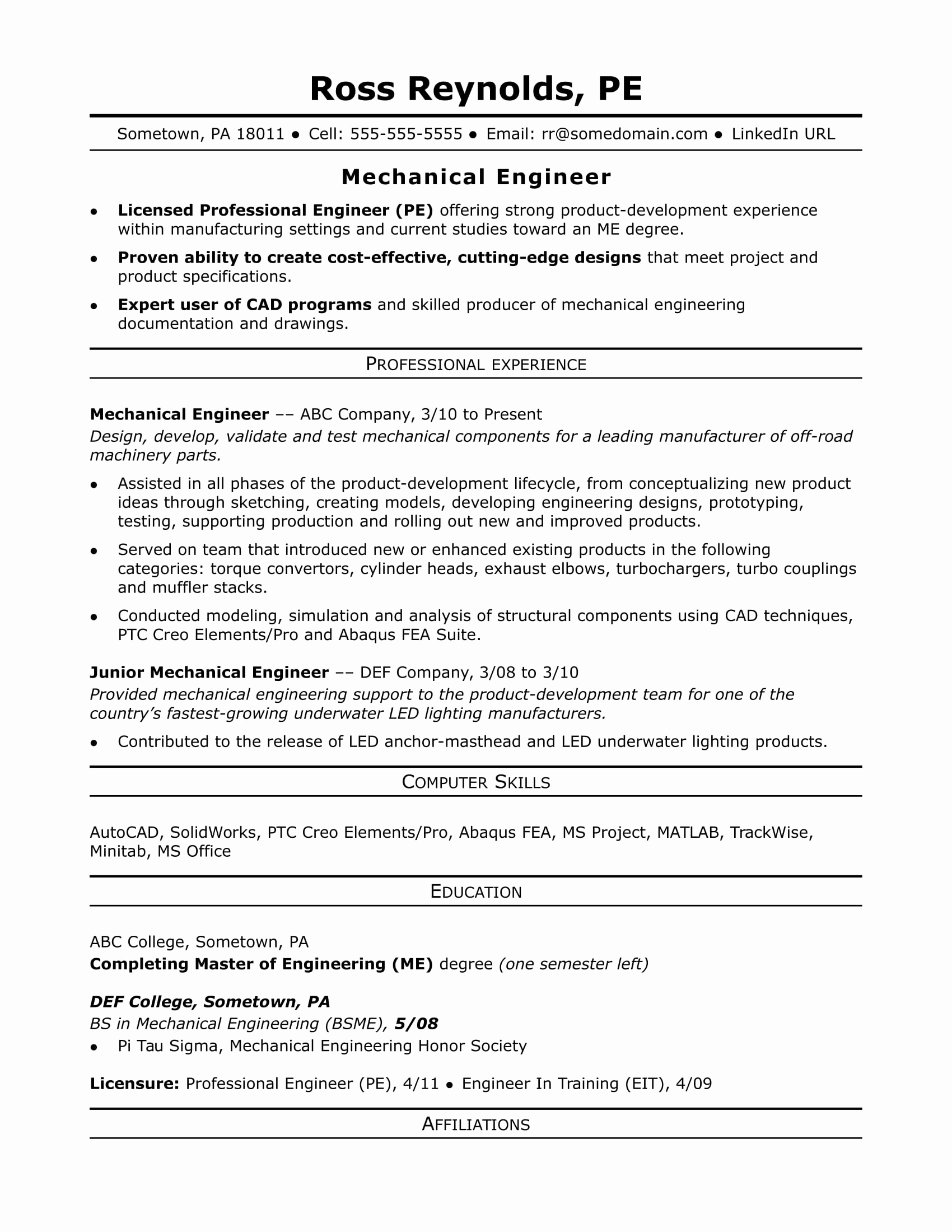 Mechanical Engineer Resume Sample Beautiful Sample Resume for A Midlevel Mechanical Engineer