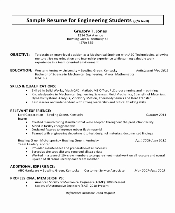 Mechanical Engineer Resume Sample Best Of 10 Sample Objectives for Resume