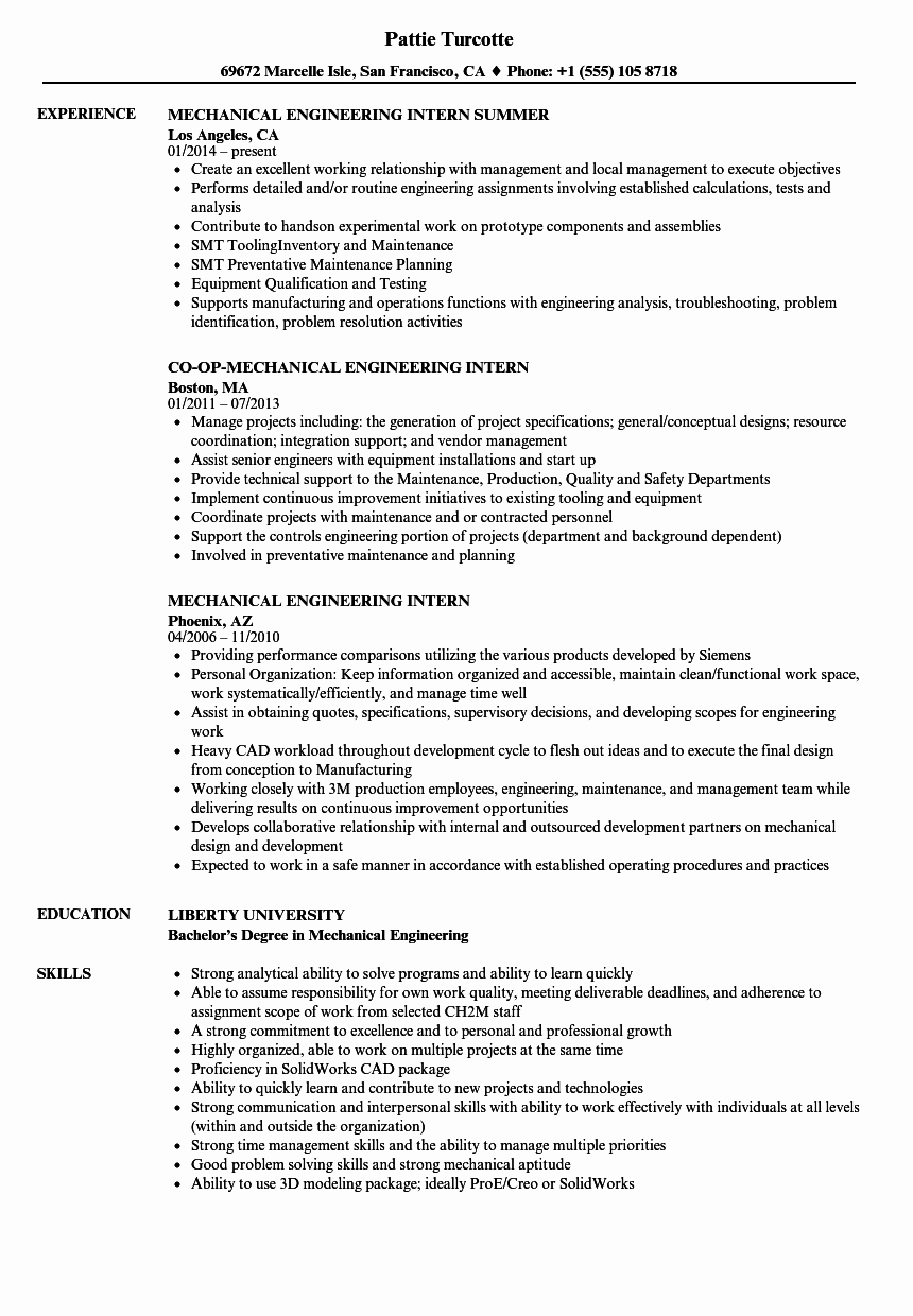 Mechanical Engineer Resume Sample Best Of Mechanical Engineering Intern Resume Samples