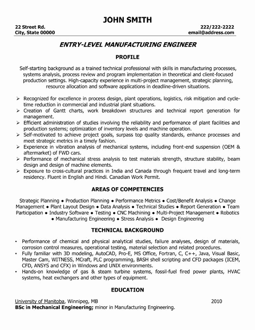 Mechanical Engineer Resume Sample Elegant Entry Level Manufacturing Engineer Resume Template