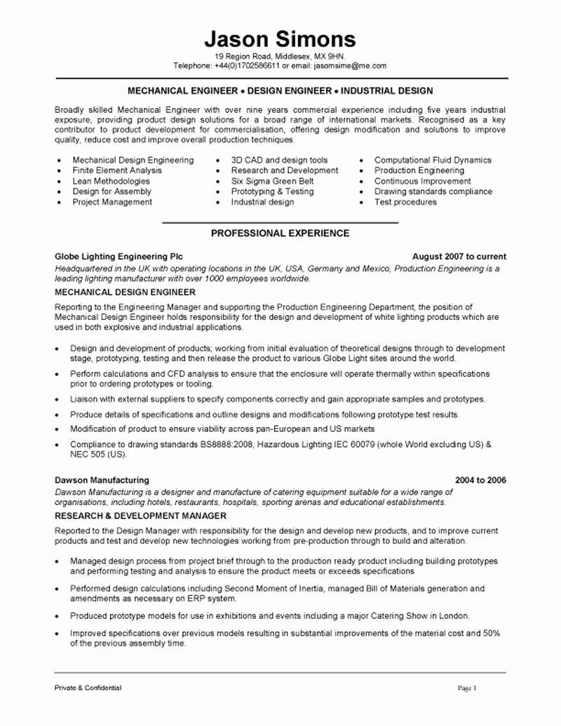 Mechanical Engineer Resume Sample Fresh Mechanical Engineering Resume Examples Google Search