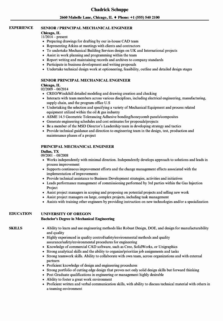 Mechanical Engineer Resume Sample Fresh Principal Mechanical Engineer Resume Samples