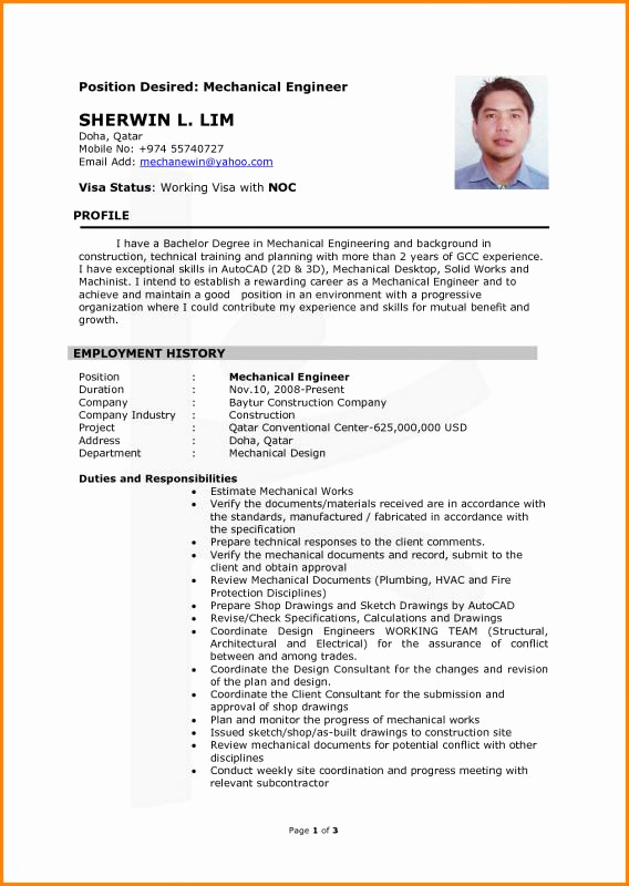 Mechanical Engineer Resume Sample Inspirational Chemical Engineering Resume