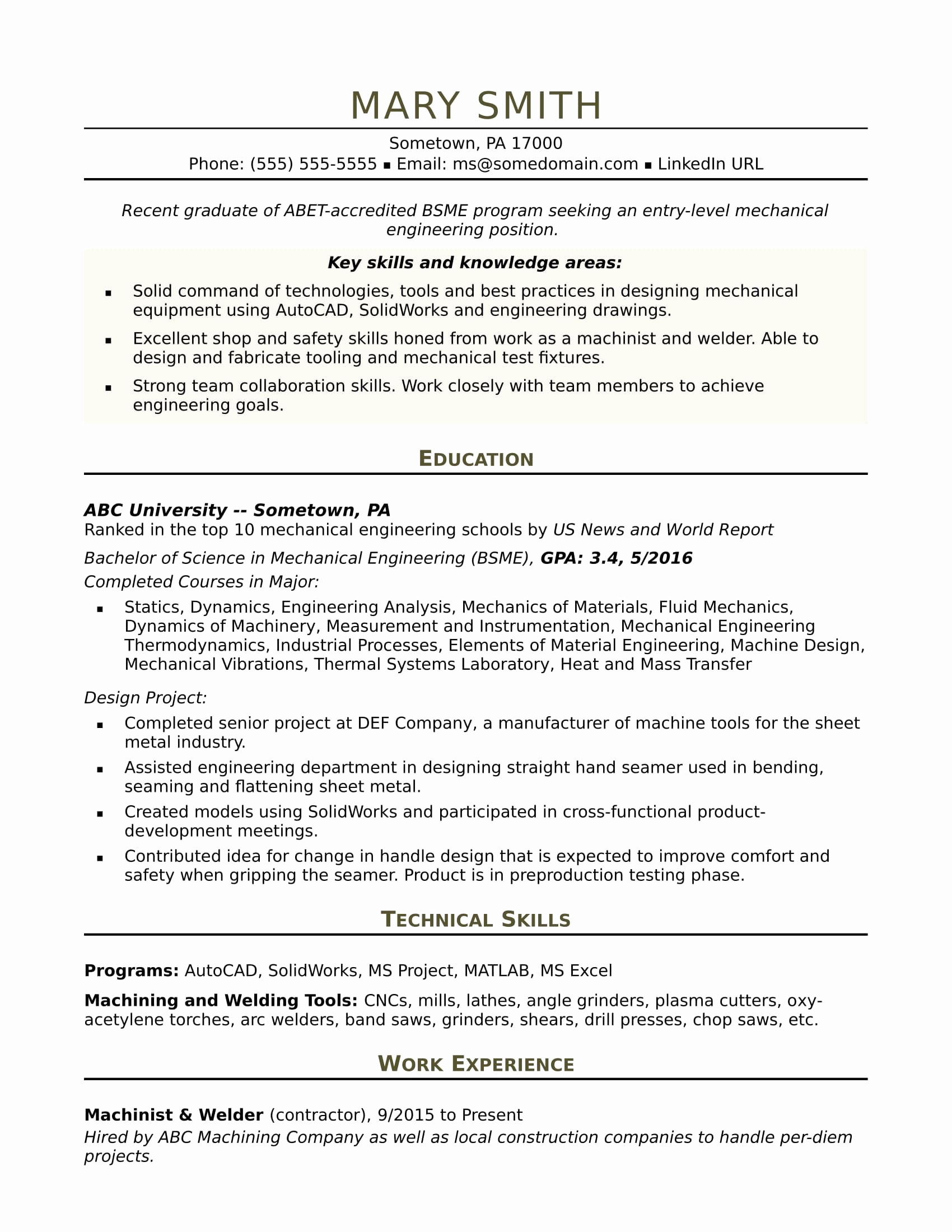 Mechanical Engineer Resume Sample Lovely Sample Resume for An Entry Level Mechanical Engineer