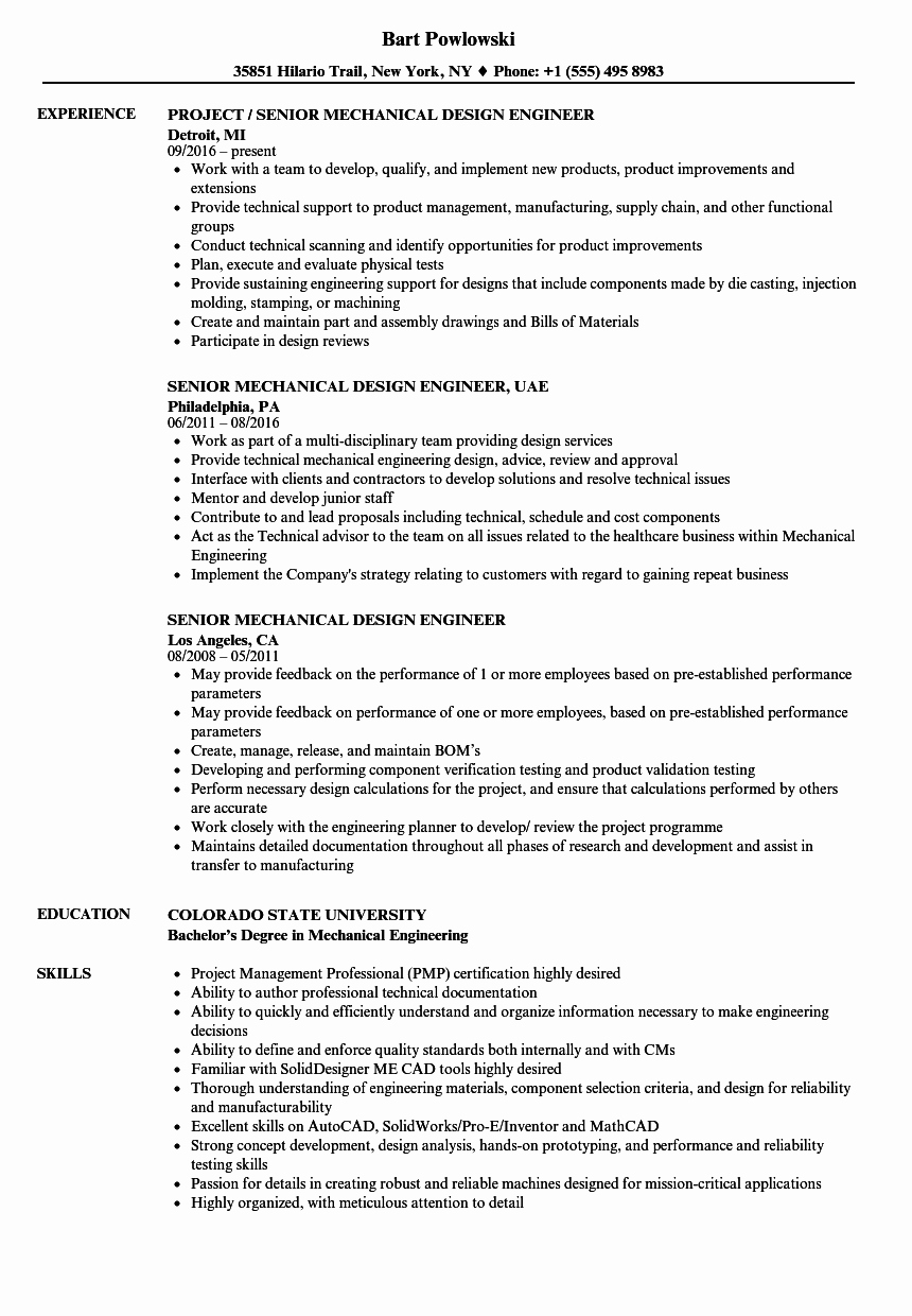Mechanical Engineer Resume Sample Lovely Senior Mechanical Design Engineer Resume Samples