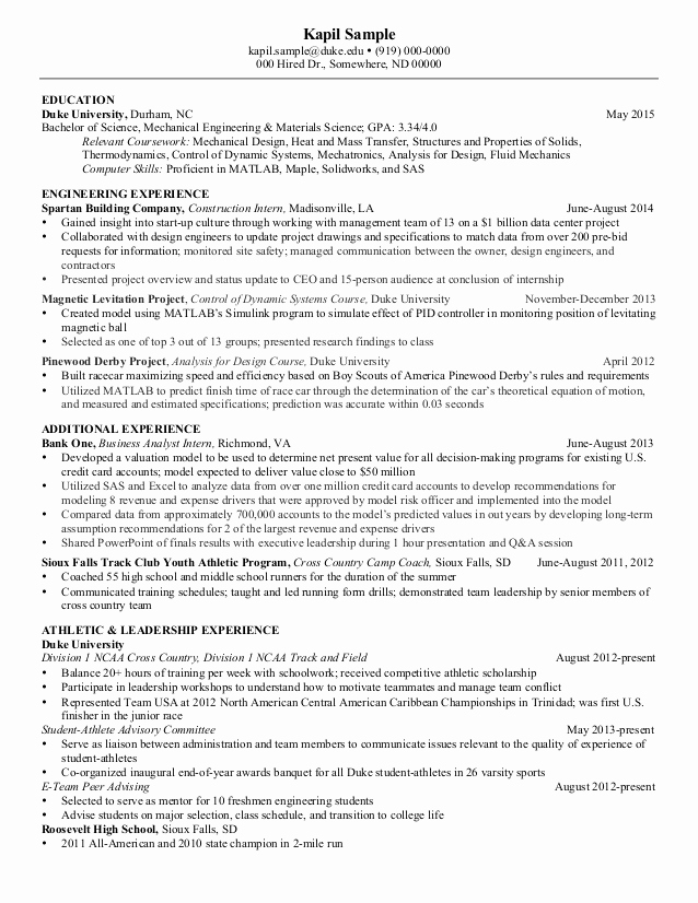 Mechanical Engineer Resume Sample Luxury Resume Mechanical Engineering Senior