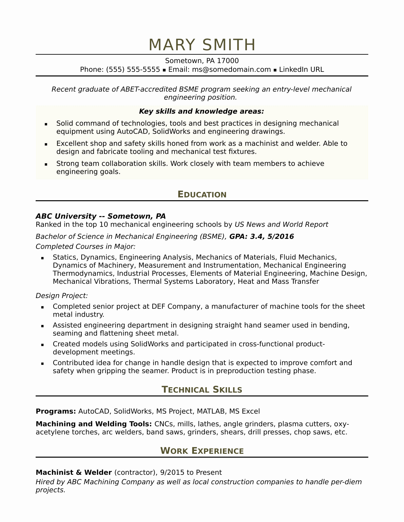 Mechanical Engineer Resume Sample Luxury Sample Resume for An Entry Level Mechanical Engineer
