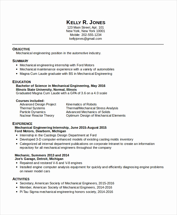 Mechanical Engineer Resume Sample New 10 Mechanical Engineering Resume Templates Pdf Doc