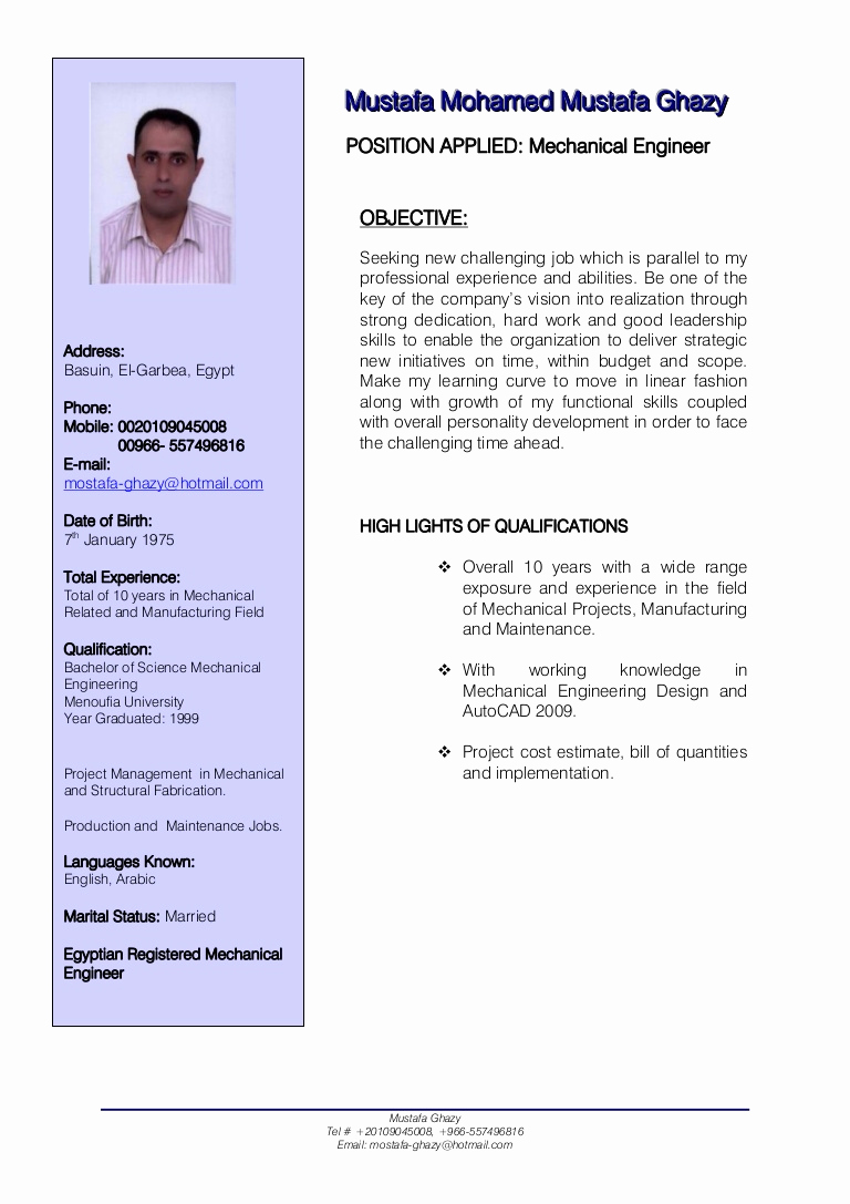 Mechanical Engineer Resume Sample Unique Mechanical Engineer Cv