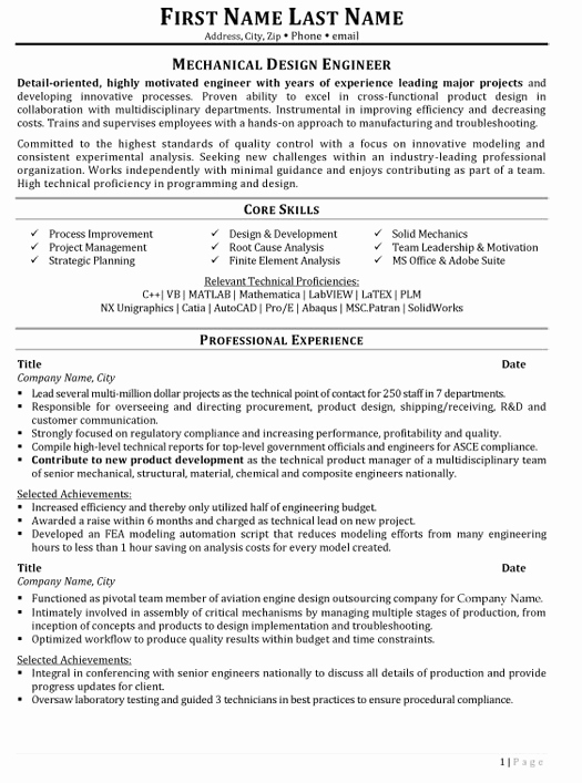Mechanical Engineer Resume Sample Unique top Aerospace Resume Templates & Samples