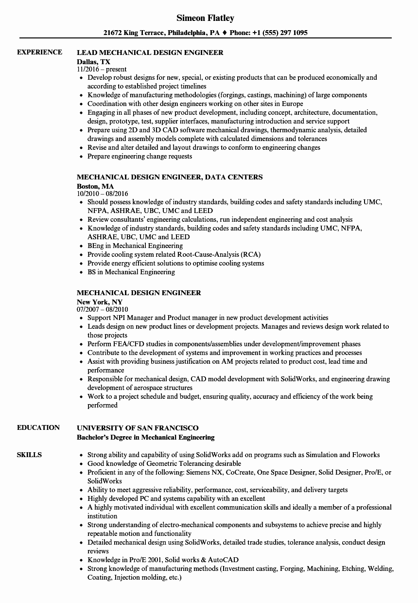 Mechanical Engineering Resume Examples Awesome Mechanical Design Engineer Resume Samples