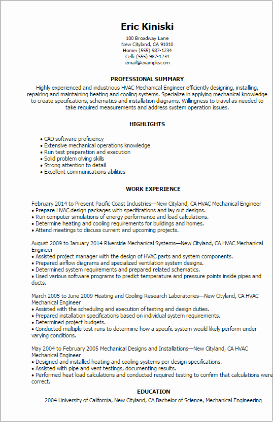 Mechanical Engineering Resume Examples Awesome Professional Hvac Mechanical Engineer Templates to