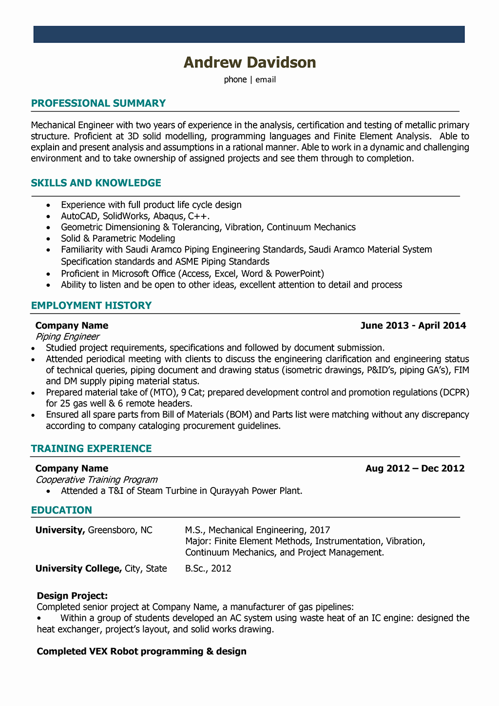 Mechanical Engineering Resume Examples Beautiful Mechanical Engineer Resume Samples and Writing Guide [10