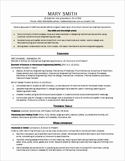 Mechanical Engineering Resume Examples Lovely Sample Resume for An Entry Level Mechanical Engineer