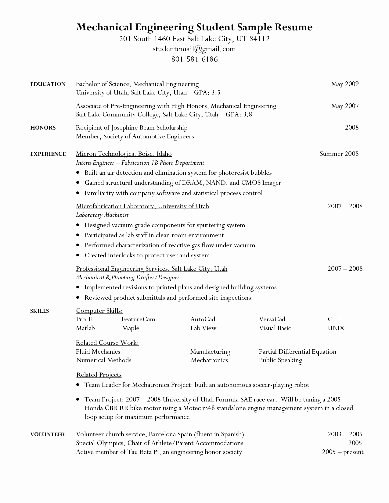 Mechanical Engineering Resume Examples Luxury Engineering Student Resume Google Search