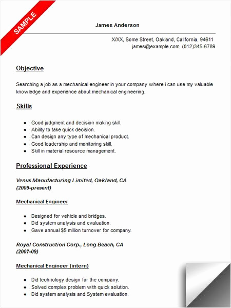 Mechanical Engineering Resume Examples Unique 42 Best Best Engineering Resume Templates & Samples Images