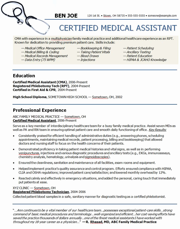 Medical assistant Resume Template Best Of Medical assistant Sample Resume