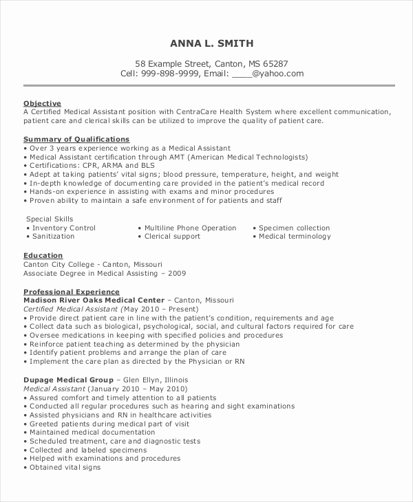 Medical assistant Resume Template Fresh 10 Medical assistant Resume Templates Pdf Doc