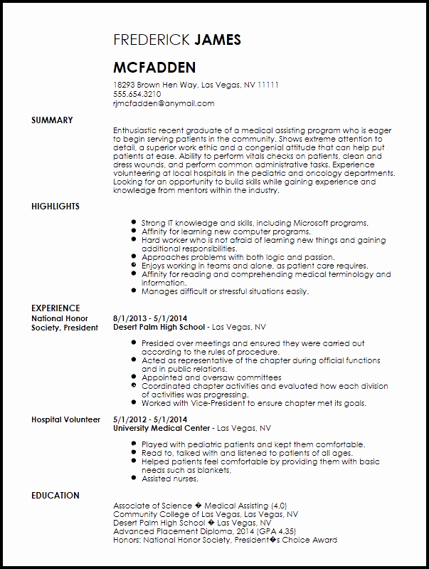 Medical assistant Resume Template Lovely Free Entry Level Medical assistant Resume Template