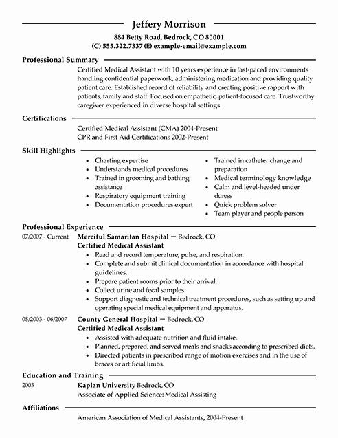 Medical assistant Resume Template Unique Best Medical assistant Resume Example
