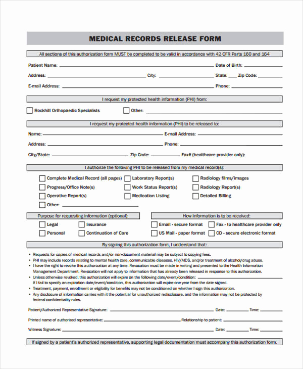 Medical Record Release form Awesome 24 Medical Release form Templates