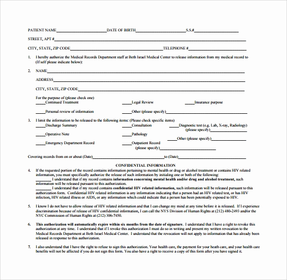 Medical Record Release form Awesome 8 Generic Medical Records Release form