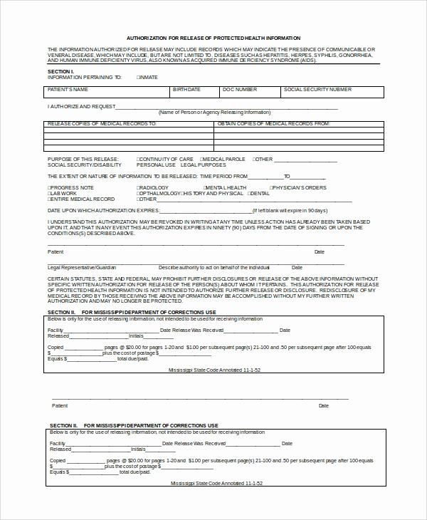 Medical Record Release form Awesome 9 Sample Medical Records Release forms