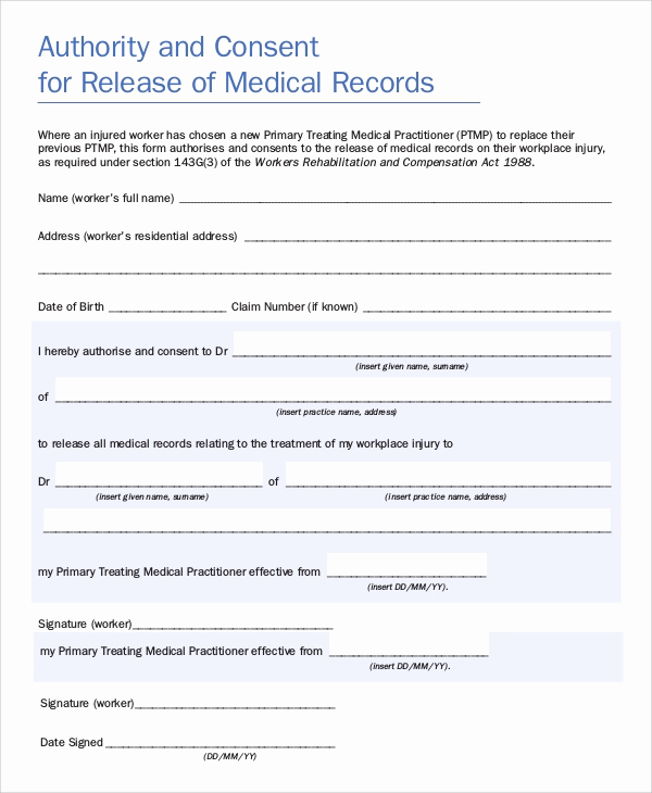 Medical Record Release form Beautiful 9 Sample Medical Records Release forms