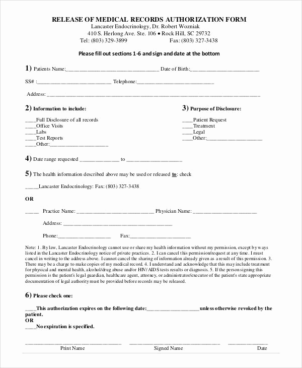 Medical Record Release form Best Of Generic Release forms