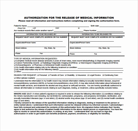 Medical Record Release form Fresh 8 Generic Medical Records Release form
