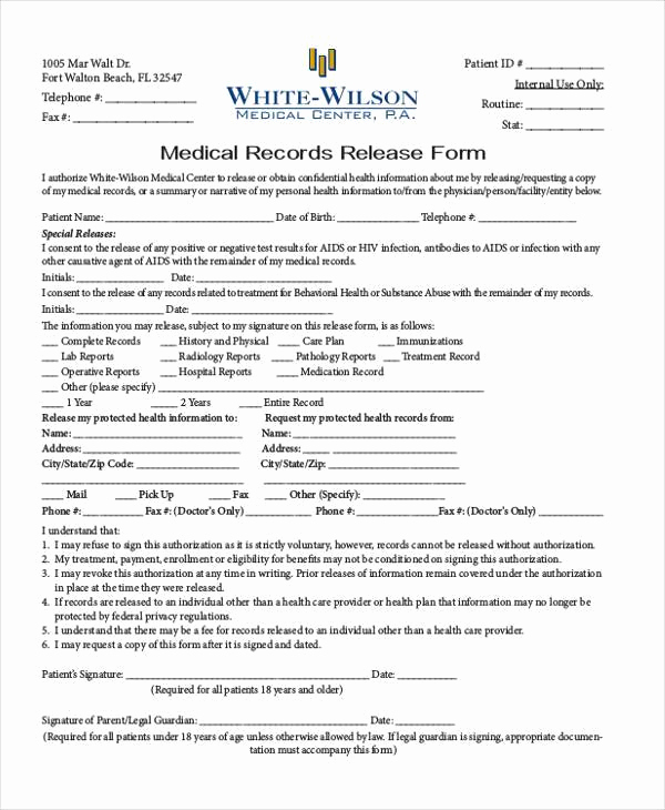 Medical Record Release form Fresh Medical Report forms