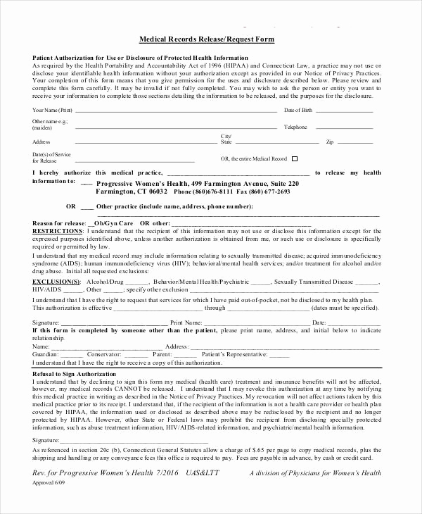 Medical Record Release form Inspirational Medical Release forms
