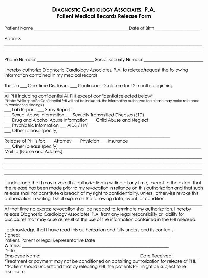Medical Record Release form Lovely 20 Samples Of Medical Records Release & Authorization forms