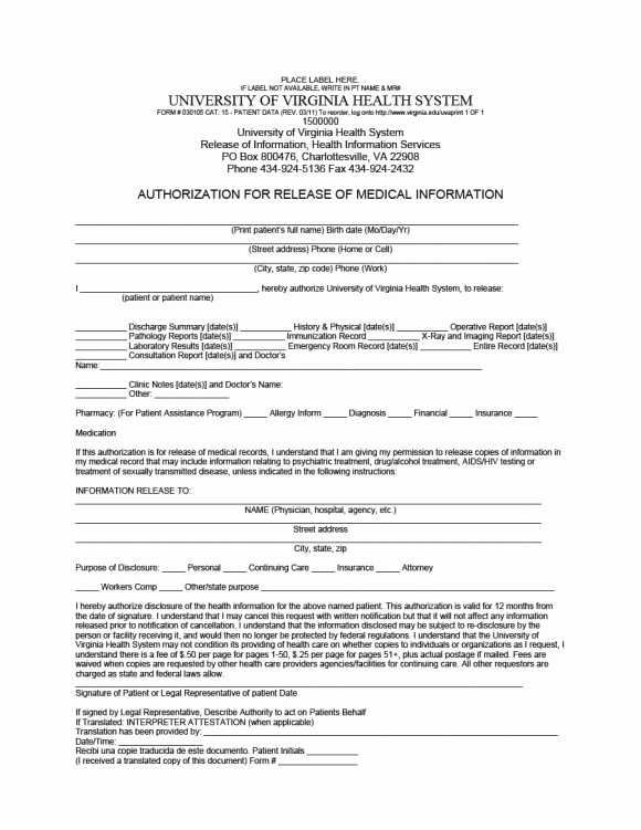 Medical Record Release form Lovely 40 Medical Records Release form Release Of Information