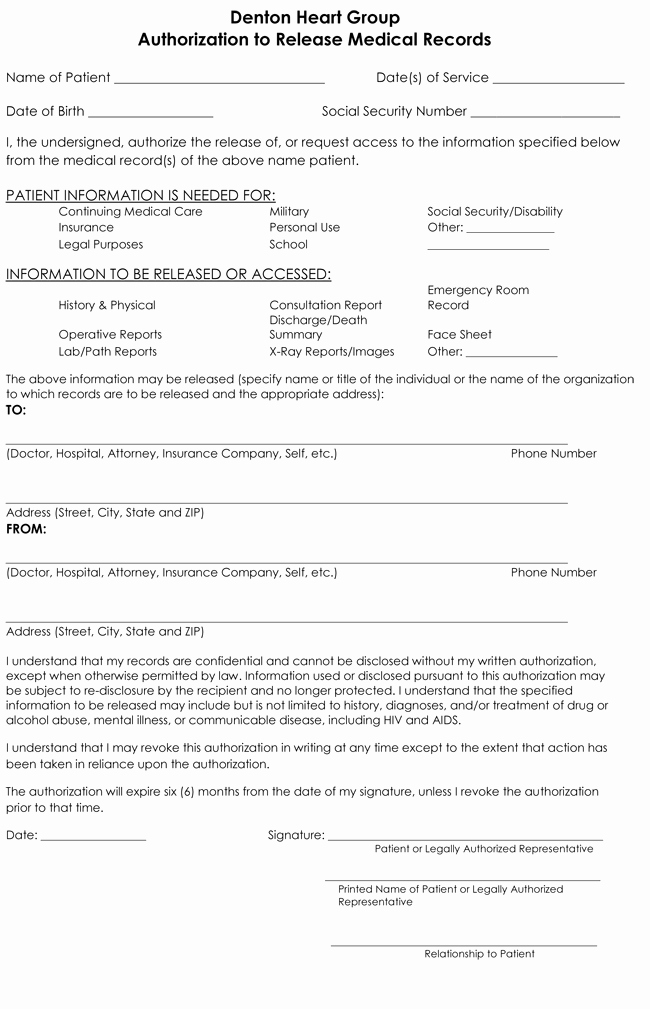 Medical Record Release form Lovely Medical Records Release form Templates Free Printable forms