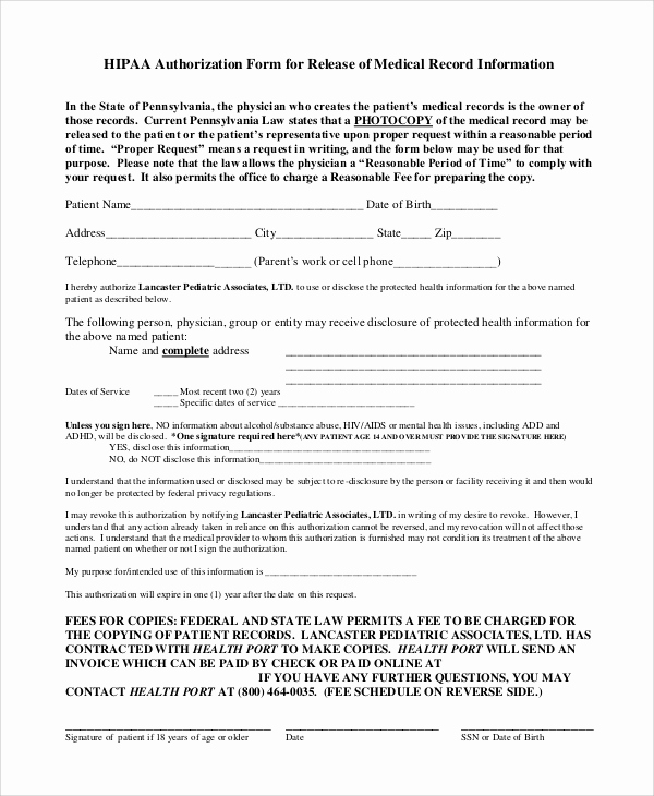 Medical Record Release form Lovely Sample Hipaa Release form 8 Examples In Pdf Word