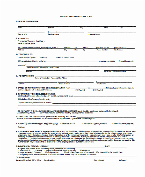 Medical Record Release form Luxury Patient Release form Template