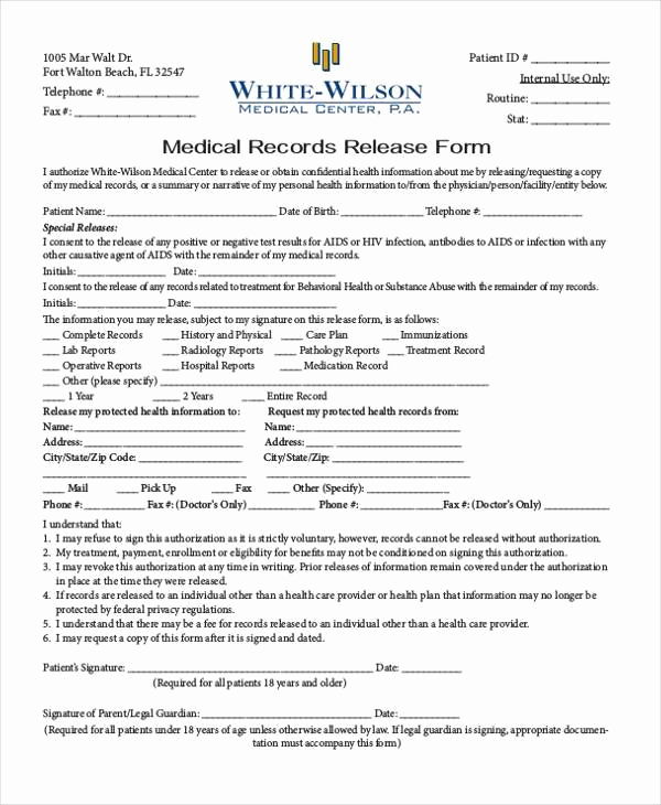 Medical Record Release form New Generic Release forms