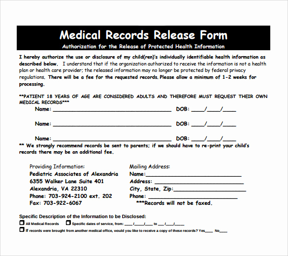 Medical Record Release form New Medical Records Release form 10 Free Samples Examples