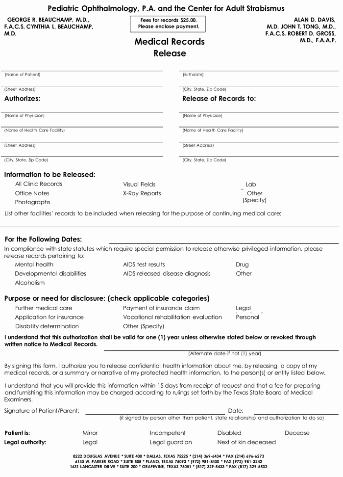 Medical Record Release form Unique 20 Samples Of Medical Records Release & Authorization forms