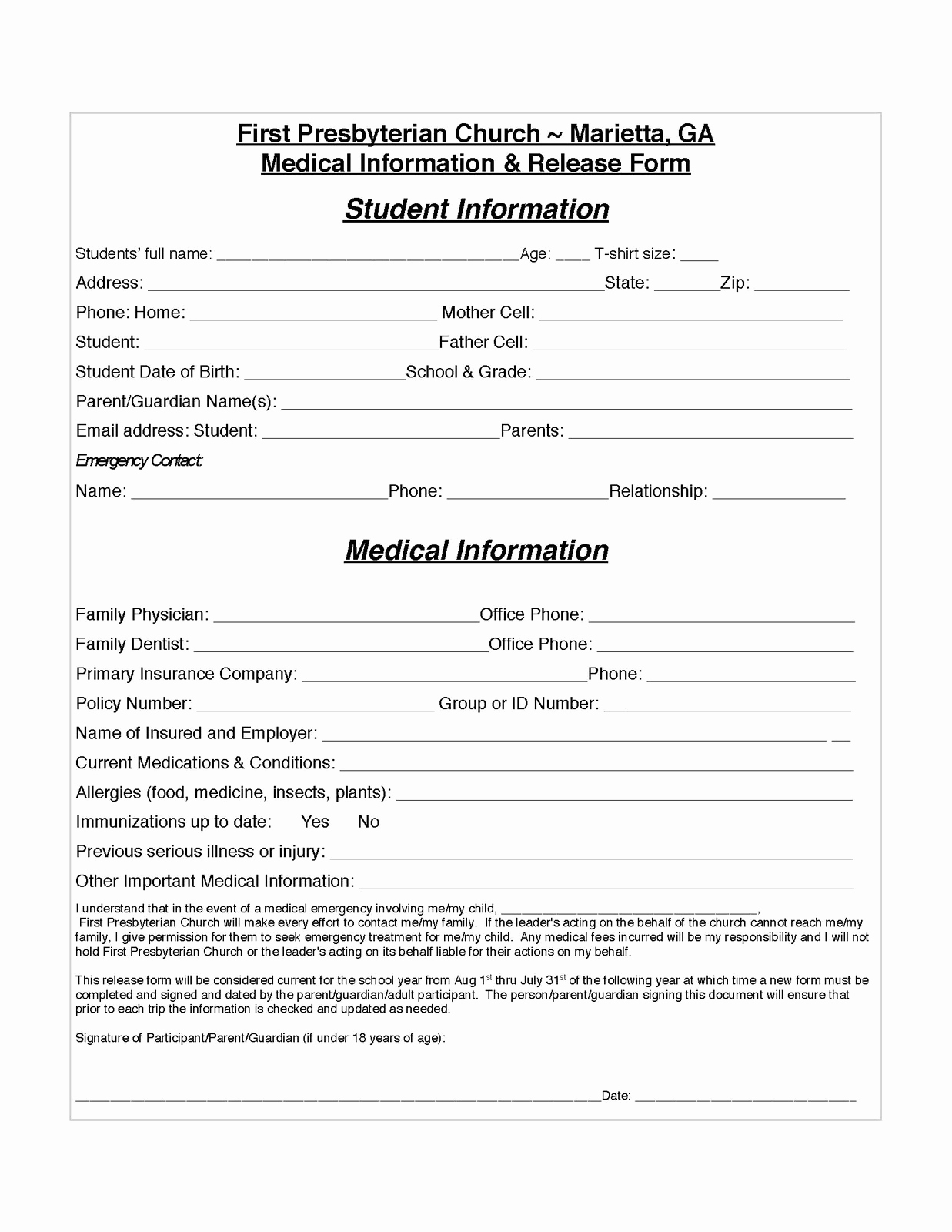 Medical Release form Templates Fresh Authorization to Release Information Template Example – 10