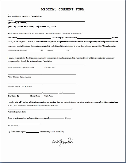 Medical Release form Templates Inspirational Printable Ms Word Parent Consent forms