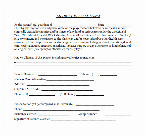 Medical Release form Templates Luxury 12 Medical Release forms – Samples Examples & formats