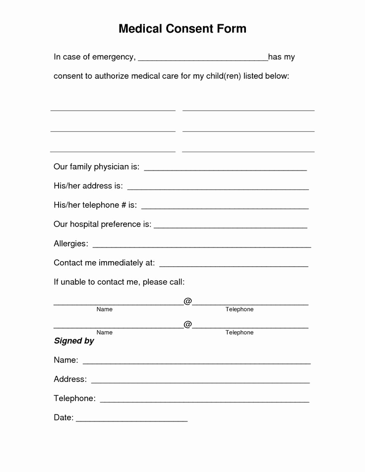 Medical Release forms Template Beautiful Free Printable Medical Consent form