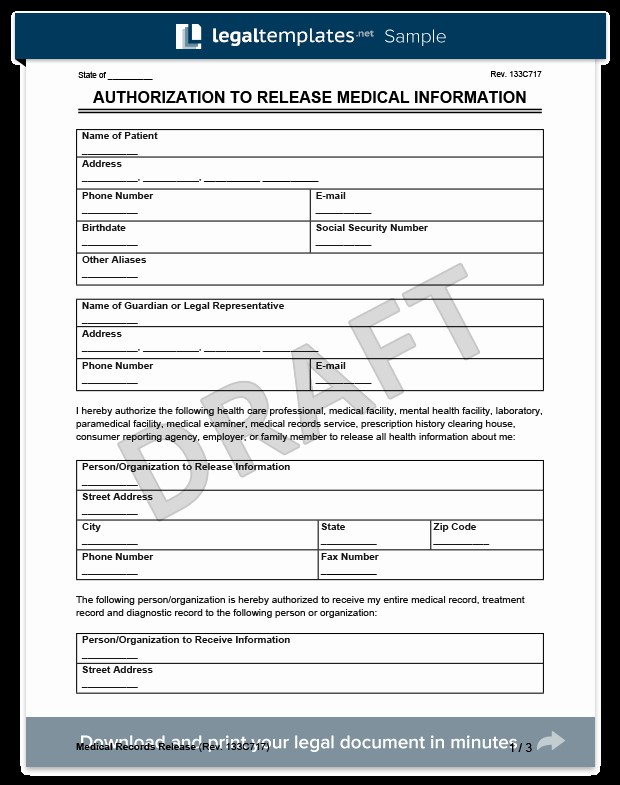Medical Release forms Template Fresh Medical Records Release form