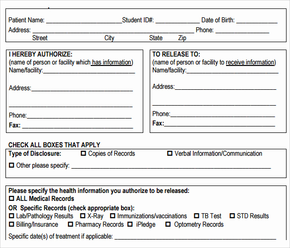 Medical Release forms Template Fresh Sample Medical Records Release form 9 Download Free
