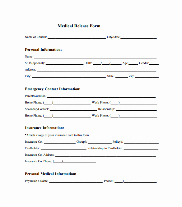 Medical Release forms Template Fresh Sample Medical Release form 10 Free Documents In Pdf Word